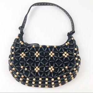 Nine West Black Tan Beaded Purse Bag